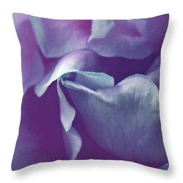 Abstract Blue Purple Green White Flowers Art Work Photography Throw Pillow