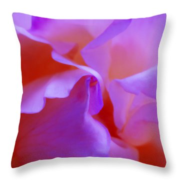 Abstract Red White Orange Pink Flowers Art Work Photography Throw Pillow