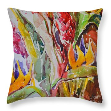 Throw Pillow featuring the painting Floral Abstraction by Roger Parent