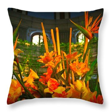 Floral Arragement In Lobby Of The Riu Cancun Hotel Throw Pillow by John Malone