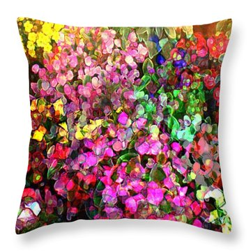 Throw Pillow featuring the mixed media Floral Basket 1 2 To 1 Aspect Ratio by Terence Morrissey