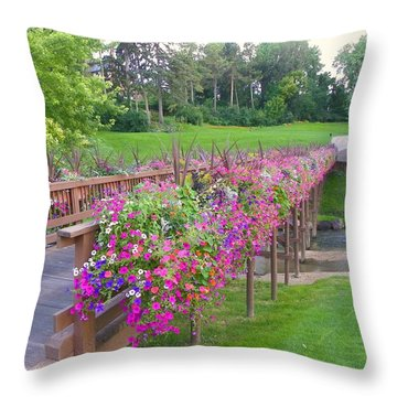 Floral Cartpath Throw Pillow