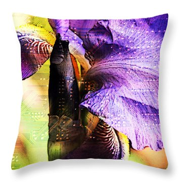 Floral Circuit Throw Pillow by Davina Washington