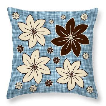 Floral Design On Blue Throw Pillow by Gaspar Avila