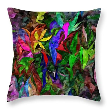 Throw Pillow featuring the digital art Floral Fantasy 012015 by David Lane