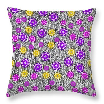 Floral Fantasy And Silver  Throw Pillow