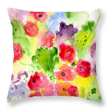 Throw Pillow featuring the painting Floral Fantasy by Paula Ayers