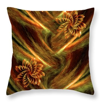 Throw Pillow featuring the digital art Floral Flow - Abstract Art By Giada Rossi by Giada Rossi