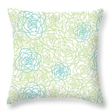 Floral Lines Throw Pillow