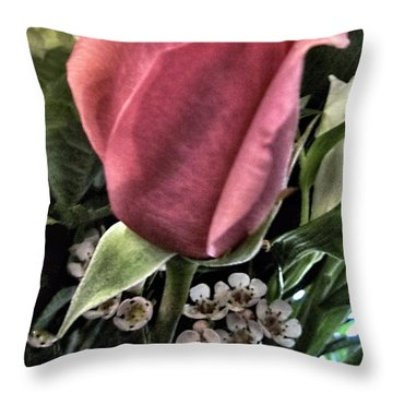 Floral Mix One Red Rose Throw Pillow by Danielle  Parent