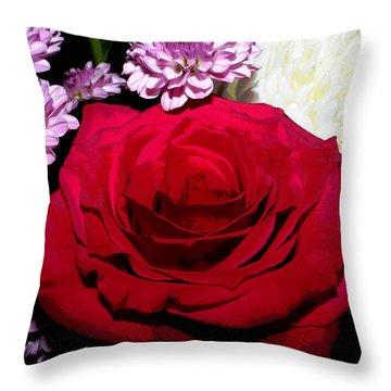 Floral Arrangement - Posterized Throw Pillow