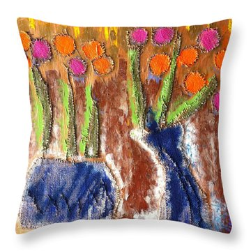 Throw Pillow featuring the painting Floral Puffs by Cleaster Cotton