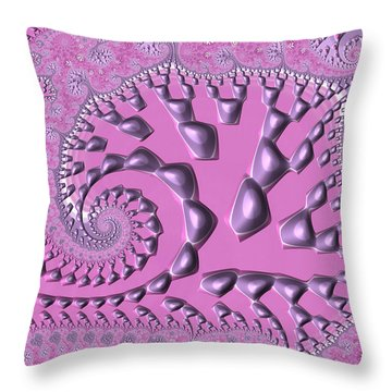 Floral Spiral Fractal Artwork Radiant Orchid Throw Pillow