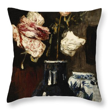 Floral Still Life Throw Pillow by Roderic O Conor