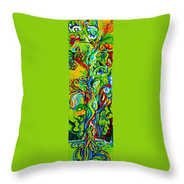 Floral Tree Fauna Throw Pillow by Genevieve Esson