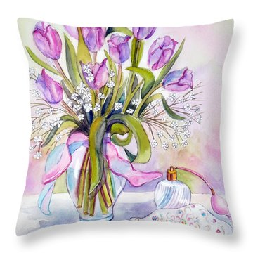 Floral With Purse And Perfume Bottle Throw Pillow