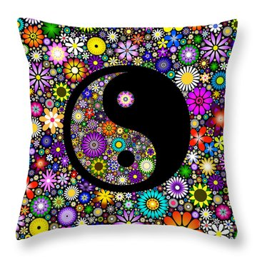 Floral Yin Yang Throw Pillow