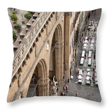 Florence And Piazza Della Signoria Throw Pillow