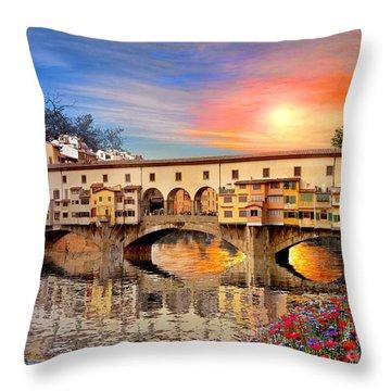Florence Bridge Throw Pillow by Dominic Davison