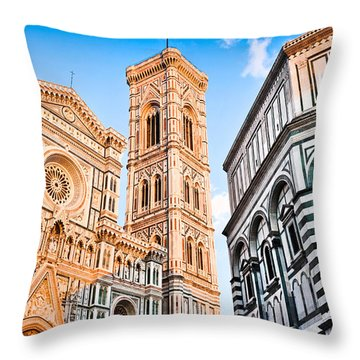 Florence Cathedral At Sunset Throw Pillow
