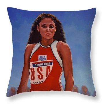 Florence Griffith - Joyner Throw Pillow by Paul Meijering