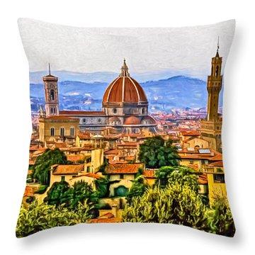 Florence Panorama - Paint Throw Pillow