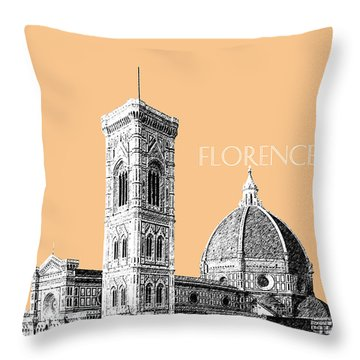 Florence Skyline Cathedral Of Santa Maria Del Fiore 2 - Wheat Throw Pillow by DB Artist