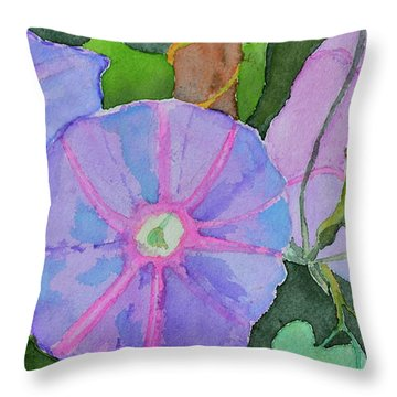 Throw Pillow featuring the painting Florence's Morning Glories by Beverley Harper Tinsley