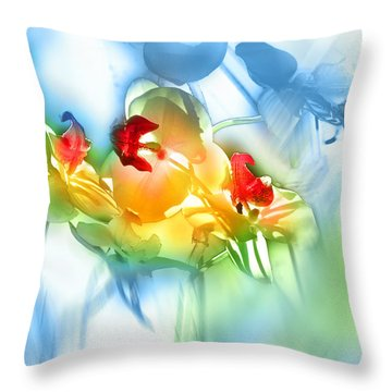 Flores En La Ventana Throw Pillow