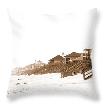 Florida Beach Sepia Print Throw Pillow