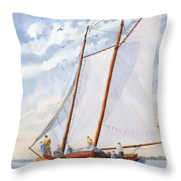 Throw Pillow featuring the painting Florida Catboat At Sea by Roger Rockefeller