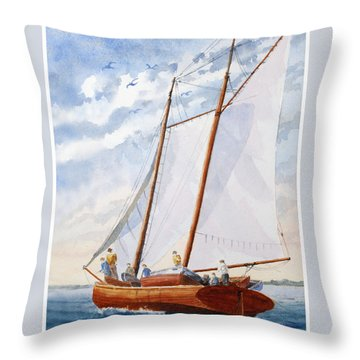 Florida Catboat At Sea Throw Pillow