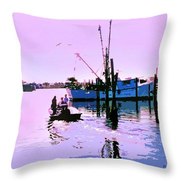 Florida Fishing Dock Throw Pillow