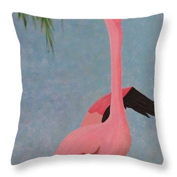Florida Flamingo Throw Pillow by Tim Townsend