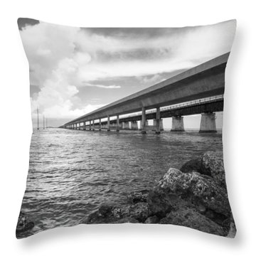 Florida Keys Seven Mile Bridge South Bw Vertical Throw Pillow