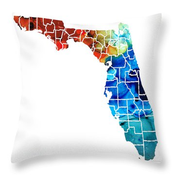 Florida - Map By Counties Sharon Cummings Art Throw Pillow by Sharon Cummings