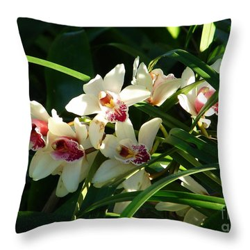 Florida Orchids Throw Pillow by Lew Davis