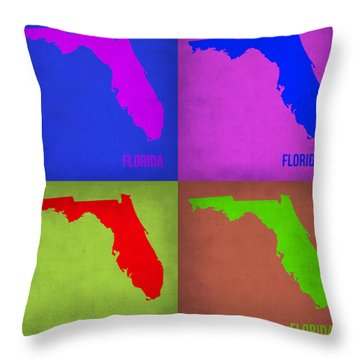 Florida Pop Art Map 1 Throw Pillow by Naxart Studio