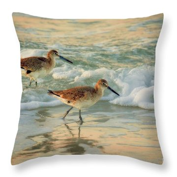 Florida Sandpiper Dawn Throw Pillow
