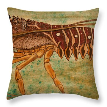 Florida Spiny Lobster Throw Pillow by Susan Cliett