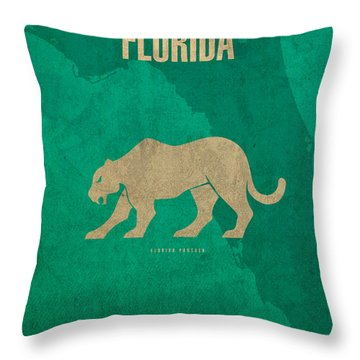 Florida State Facts Minimalist Movie Poster Art  Throw Pillow