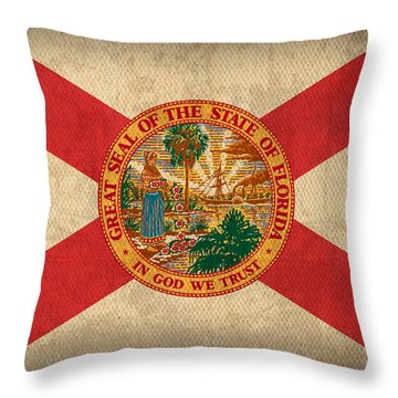 Florida State Flag Art On Worn Canvas Throw Pillow