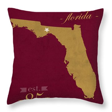 Florida State University Seminoles Tallahassee Florida Town State Map Poster Series No 039 Throw Pillow