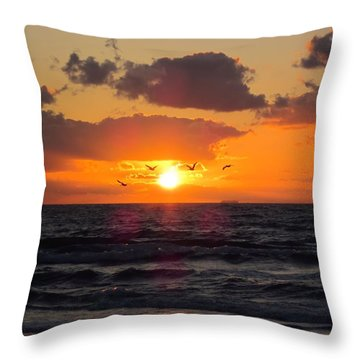 Florida Sunrise Throw Pillow by MTBobbins Photography