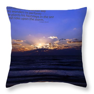 Florida Sunset Beyond The Ocean  - Quote Throw Pillow