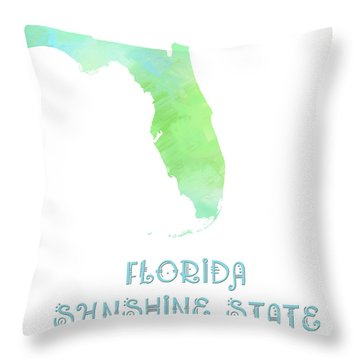 Florida - Sunshine State - Map - State Phrase - Geology Throw Pillow by Andee Design
