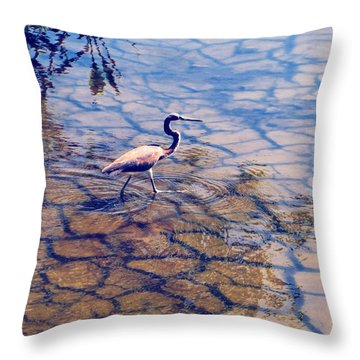 Florida Wetlands Wading Heron Throw Pillow