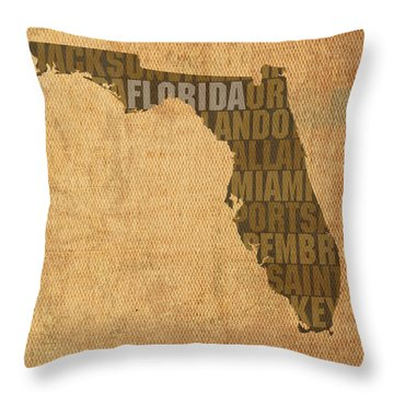 Florida Word Art State Map On Canvas Throw Pillow