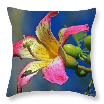 Floss Silk Bloom Throw Pillow by Larry Nieland