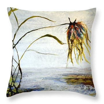 Flower And Babbling Brook Throw Pillow
